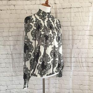 Eva Longoria Limited Printed Smocked Mock Neck Top